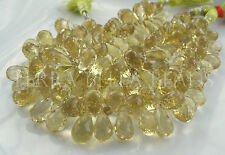 11 pc AAA LEMON TOPAZ faceted gem stone teardrop briolette beads 9mm - 15mm lime