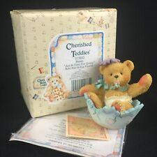 Enesco Cherished Teddies Figurine Bunny Baby Bear In Egg 103802 Springtime 1994