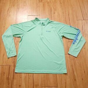 Columbia PFG 1/4 Zip Shirt Mens XL Long Sleeve Green