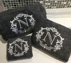 Monogram Towels, Damask Design Facecloths, Hand and Bath Towels, ANY INITIAL