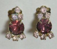 Vintage Estate Jewelry CLIP BACK EARRINGS Lavender & Purple Rhinestones