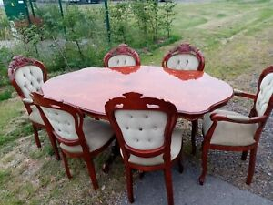 Italian style dining table and 6 chairs