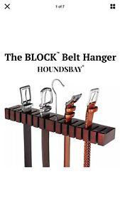 Solid Mahogany Belt Holder Hanger & Belt Rack Organizer Closet HOUNDSBAY Block