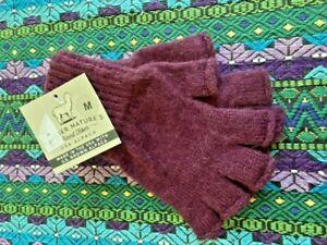 100% Alpaca Women's Fingerless Knit Maroon Purple Warm Winter Gloves NEW