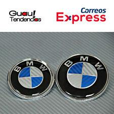 Pack Emblema Logo BMW Fibra Carbono Capo Maletero 74mm + 82mm Azul Blanco