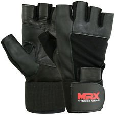 Weight Lifting Gloves Gym Power Training Long Wrist Strap Glove MRX Black, M