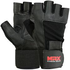 Weight Lifting Gloves Gym Power Training Long Wrist Strap Glove MRX Black, M