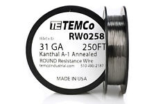 TEMCo Kanthal A1 wire 31 Gauge 250 Ft Resistance AWG A-1 ga