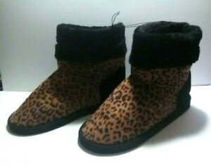 Bobbie Brooks Casual Slip-On Boots - Animal Print with Faux Fur - Size: 9