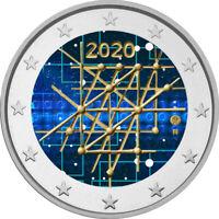 2 Euro Gedenkmünze Finnland 2020 coloriert m Farbe / Farbmünze Universität Turku