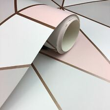 Fine Deco Apex Geometric Luxury Rose Gold And Pink Wallpaper fd41993 Cheap Sale