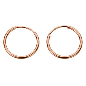 Men 14K Rose Gold 1.25mm Thin Endless Hoops High Polished Round Tube Earrings