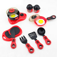 12pcs Kid Play House Toy Kitchen Utensils Cooking Pots Pans Food Dishes Cookware