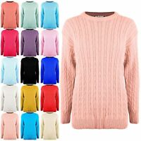 Womens Ladies Round Neck Cable Chunky Knitted Oversized Warm Baggy Jumper Top