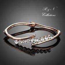 18K Rose Gold Plated Made With Swarovski Crystals Curved Bangle Bracelet B549-30
