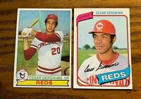 Cesar Geronimo Topps 1979 #220 and 1980 #475 - Reds