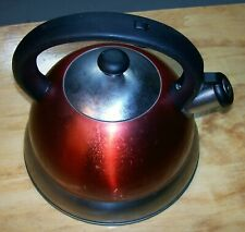 """VTG 8 Cup Copper Stainless Steel Whistling Tea Kettle 9"""" Tall"""