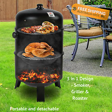 Portable Outdoor BBQ Charcoal Roast Smoker Grill Cooking Grill Meat Flavour NEW