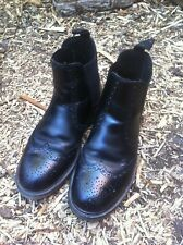 Black leather Brogue Dealer Market Chelsea cushion sole boots size 9 ..43