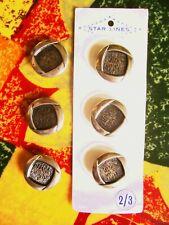6 vintage '60's silver metal button (3 on original card) 22 mm. diam.