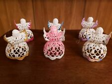 6 Vintage Crocheted Angels Christmas Tree Ornaments Starched Colorful Gorgeous