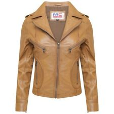 Ladies Women Genuine Sheep Nappa Leather Tan Biker Fashion Jacket Slim Fit