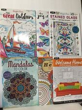 6 PC Designer Series Adult Coloring Books Patterns Henna Mandalas Stained Glass