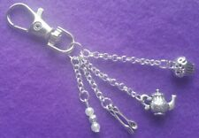 Tea Time Themed Keyring With Cupcake Teapot Cutlery Charms and Gems + Gift Bag