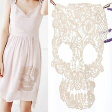 White Floral Clothing Decor Lace Applique Embroidery Skull Pattern Patches