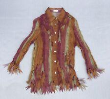 Jaipur Blouse Crinkle Sheer Boho Hippie Shirt Autumn Collar Button Orange M