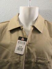 DICKIES New Khaki 2-Pocket Quality 100% Cotton Work Shirts NWT! Uniform Shirt~M