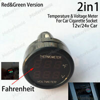DC12V 24V Car Battery Cigarette Lighter Digital LED Temperature Volt Combo meter
