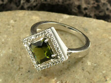 Moldavite cubic zirconia 8mm Faceted Ring Silver.925 Us 9 - 25.85ct #Ring675