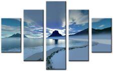 5 Panel Total Size 115x80cm ABSTRACT  ART CANVAS  DIGITAL SUNDOWNER Blue