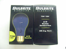 2 NEW 75 WATT 120v BLACK LIGHT BULBS HALLOWEEN PARTY STANDARD BASE A19 NEON GLOW