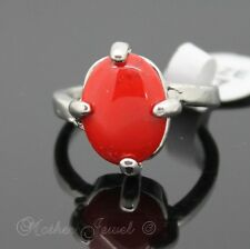 GORGEOUS GIFT OVAL RED TURQUOISE SILVER PLATED LADIES DRESS RING SIZE 7 MED