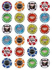 24 X las Vegas Poker Chips Novedad Cake Toppers De Papel De Arroz Cumpleaños