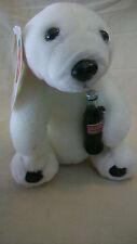 "1993 COCA-COLA PLUSH POLAR BEAR WITH COKE BOTTLE, 7"" TALL, BNWT"
