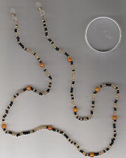 "Eyeglass Holder, Orange, Black, & Gold Beads, 24"", New"
