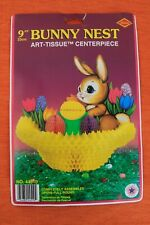 Nos Vintage Beistle Easter Bunny Nest Honeycomb Tissue Decoration 1973