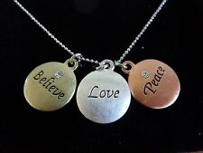 "Inspirational Necklace 19"" Chain 3 Pendant Believe Love Peace Crystals"