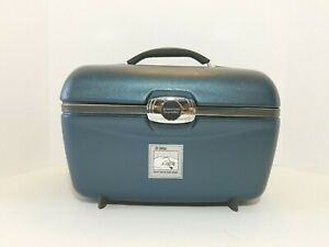 Vintage American Tourister Blue Train Case Makeup Travel Hard Shell with Mirror