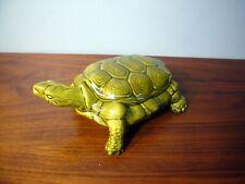 Vintage Arnel's Green Turtle Ceramic Glazed Trinket Jewelry Box Removable Shell