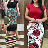 Women Floral Slim Dress High Waist Bodycon Dress Sexy Vintage Party Dr Kd