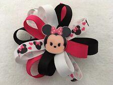 "Girls Hair Bow 3 1/2"" Wide Flower Pink/Blk/Wt Minnie Tsum Tsum French Barrette"
