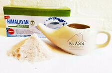 Genuine Himalayan Neti Salt and Ceramic Neti Pot For Nasal Sinus Flushing Gift