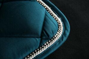 EQuest Schabracke Dressur Petrol, elegante Kordel, Strass, ein Hingucker