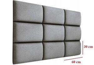 Bettkopfteil Wandkissen Kopfende Kopfteil Betthaupt Wandpolster 60x30 cm GRAU