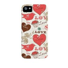 CASE-MATE IPHONE 5S 5 SE BARELY THERE SLIM HARD CASE COVER WHITE RED BIRD LOVE