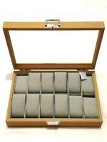 Vitrina expositor de relojes madera para 12 unidades 21.5 x 31.5 x 7.5cm nuevo